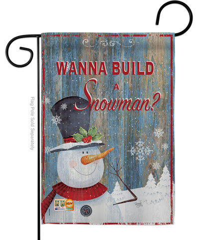 Build a Snowman - Christmas Winter Vertical Impressions Decorative Flags HG114176 Made In USA