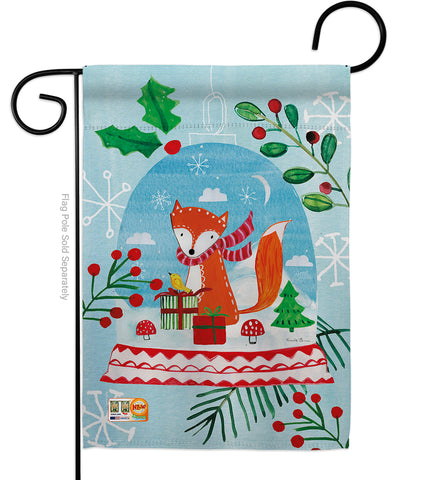 Snow Globe Fox - Christmas Winter Vertical Impressions Decorative Flags HG114203 Made In USA