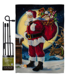 Moonlit Santa - Christmas Winter Vertical Impressions Decorative Flags HG114131 Made In USA