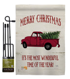 Merry Christmas Vintage Truck - Christmas Winter Vertical Impressions Decorative Flags HG114170 Made In USA