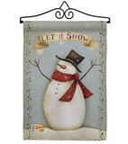 Let it Snow Happy Snowman - Christmas Winter Vertical Impressions Decorative Flags HG114175 Made In USA