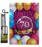 Happy 70th Anniversary - Family Special Occasion Vertical Impressions Decorative Flags HG115197 Made In USA