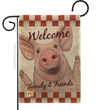 Welcome Piggy - Farm Animals Nature Vertical Impressions Decorative Flags HG110125 Made In USA