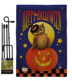 Owl Sitting on Jack-O-Lantern - Halloween Fall Vertical Impressions Decorative Flags HG112069 Made In USA