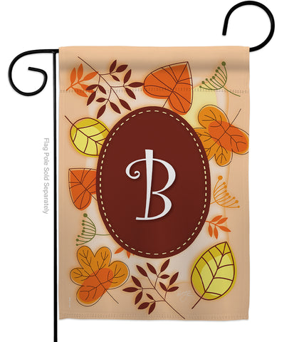 Autumn B Initial - Harvest & Autumn Fall Vertical Impressions Decorative Flags HG130028 Made In USA