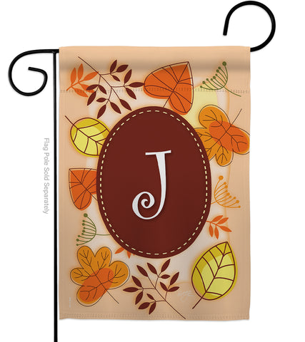 Autumn J Initial - Harvest & Autumn Fall Vertical Impressions Decorative Flags HG130036 Made In USA
