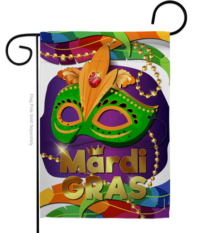 Mardi Gras Mask - Mardi Gras Spring Vertical Impressions Decorative Flags HG118011 Made In USA
