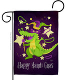 Mardi Gras Alligator - Mardi Gras Spring Vertical Impressions Decorative Flags HG118015 Made In USA