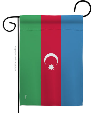 Azerbaijan - Nationality Flags of the World Vertical Impressions Decorative Flags HG140018 Made In USA