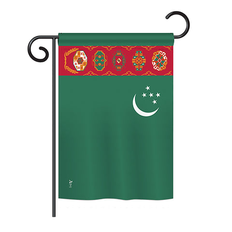 Turkmenistan - Nationality Flags of the World Vertical Impressions Decorative Flags HG140238 Printed In USA