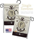 Nautical F Initial - Nautical Coastal Vertical Impressions Decorative Flags HG130188 Made In USA