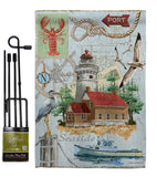 Seaside Lighthouse - Nautical Coastal Vertical Impressions Decorative Flags HG107053 Made In USA