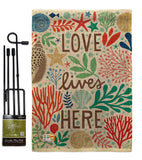 Love Lives Here - Nautical Coastal Vertical Impressions Decorative Flags HG107064 Made In USA