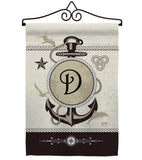 Nautical D Initial - Nautical Coastal Vertical Impressions Decorative Flags HG130186 Made In USA