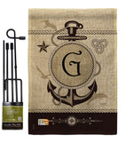 Nautical G Initial - Nautical Coastal Vertical Impressions Decorative Flags HG130189 Made In USA