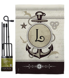 Nautical L Initial - Nautical Coastal Vertical Impressions Decorative Flags HG130194 Made In USA