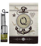 Nautical Q Initial - Nautical Coastal Vertical Impressions Decorative Flags HG130199 Made In USA