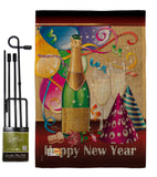 Happy New Year - New Year Winter Vertical Impressions Decorative Flags HG116008 Made In USA
