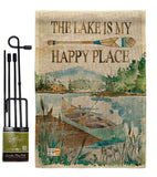 Lake is Happy Place - Outdoor Nature Vertical Impressions Decorative Flags HG109070 Made In USA