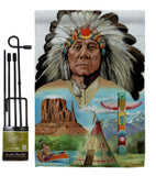 Native American - Patriotic Americana Vertical Impressions Decorative Flags HG111064 Made In USA