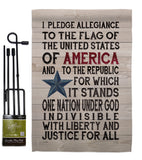 Pledge of Allegiance - Patriotic Americana Vertical Impressions Decorative Flags HG111085 Made In USA