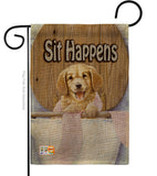 Sit Happens - Pets Nature Vertical Impressions Decorative Flags HG110008 Made In USA