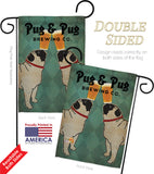 Pug and Pug Brewing - Pets Nature Vertical Impressions Decorative Flags HG110111 Made In USA