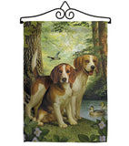 Beagles And Duck - Pets Nature Vertical Impressions Decorative Flags HG110068 Made In USA