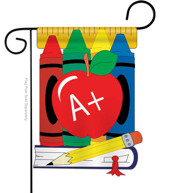 School Day - School & Education Special Occasion Vertical Applique Decorative Flags HG115025