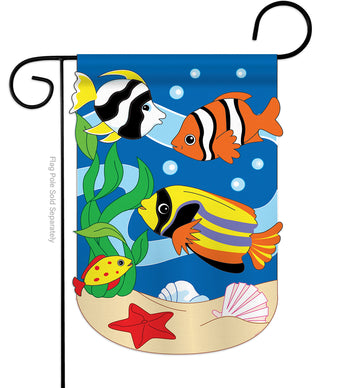 Tropical Fish - Sea Animals Coastal Vertical Applique Decorative Flags HG107024