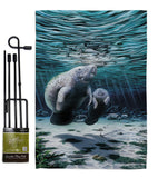 Manatees - Sea Animals Coastal Vertical Impressions Decorative Flags HG107049 Made In USA