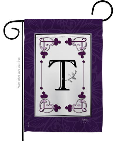 Classic T Initial - Simply Beauty Interests Vertical Impressions Decorative Flags HG130020 Made In USA