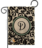 Damask D Initial - Simply Beauty Interests Vertical Impressions Decorative Flags HG130056 Made In USA