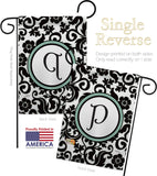 Damask P Initial - Simply Beauty Interests Vertical Impressions Decorative Flags HG130068 Made In USA