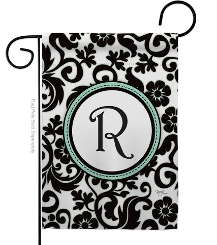 Damask R Initial - Simply Beauty Interests Vertical Impressions Decorative Flags HG130070 Made In USA