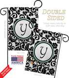 Damask Y Initial - Simply Beauty Interests Vertical Impressions Decorative Flags HG130077 Made In USA