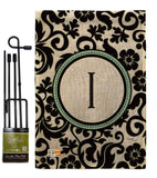 Damask I Initial - Simply Beauty Interests Vertical Impressions Decorative Flags HG130061 Made In USA
