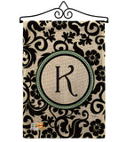 Damask K Initial - Simply Beauty Interests Vertical Impressions Decorative Flags HG130063 Made In USA