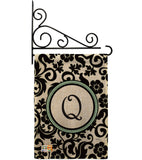 Damask Q Initial - Simply Beauty Interests Vertical Impressions Decorative Flags HG130069 Made In USA