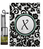 Damask X Initial - Simply Beauty Interests Vertical Impressions Decorative Flags HG130076 Made In USA