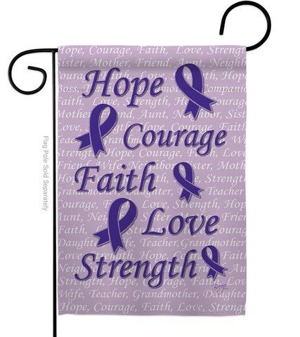 Hope, Faith, Courage (Purple) - Support Inspirational Vertical Impressions Decorative Flags HG115091 Made In USA