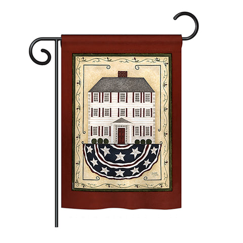 Patriotic White House - Sweet Home Inspirational Vertical Impressions Decorative Flags HG100074 Printed In USA