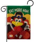 Eat More Ham - Thanksgiving Fall Vertical Impressions Decorative Flags HG113034 Made In USA