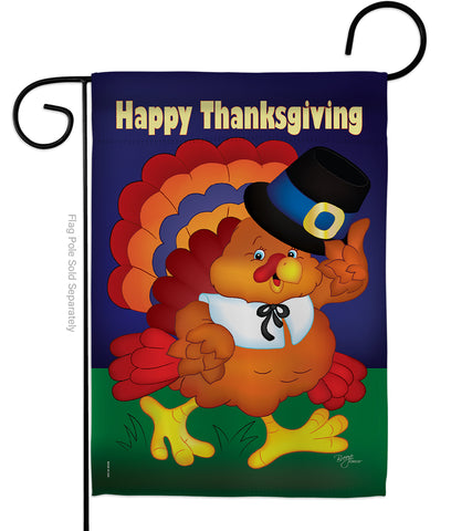 Happy Thanksgiving Turkey - Thanksgiving Fall Vertical Impressions Decorative Flags HG113037 Made In USA