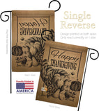Happy Cornucopia - Thanksgiving Fall Vertical Impressions Decorative Flags HG113054 Made In USA