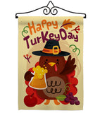 Happy Turkey Day - Thanksgiving Fall Vertical Impressions Decorative Flags HG113065 Made In USA