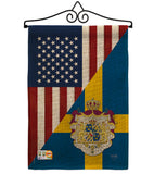 US Sweden Friendship - US Friendship Flags of the World Vertical Impressions Decorative Flags HG108385 Made In USA