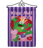 Kiss Me Frog - Valentines Spring Vertical Impressions Decorative Flags HG101042 Made In USA