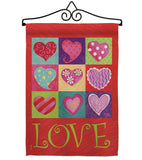 Love Hearts Collage - Valentines Spring Vertical Impressions Decorative Flags HG101046 Made In USA