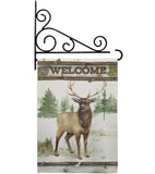 Welcome Deer - Wildlife Nature Vertical Impressions Decorative Flags HG110105 Made In USA